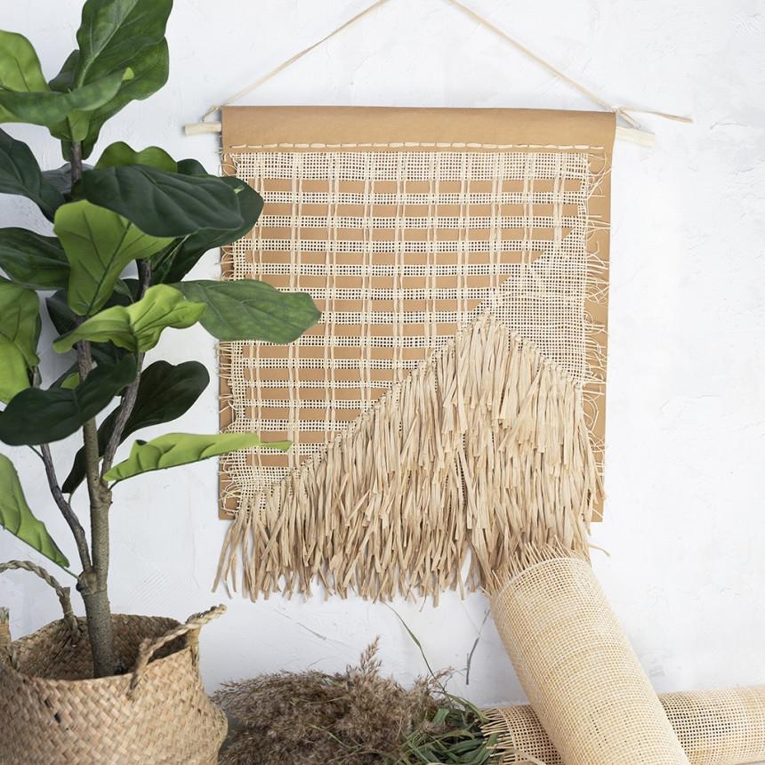 Wanddeko aus Kunstlederpapier, Bast und Rattan